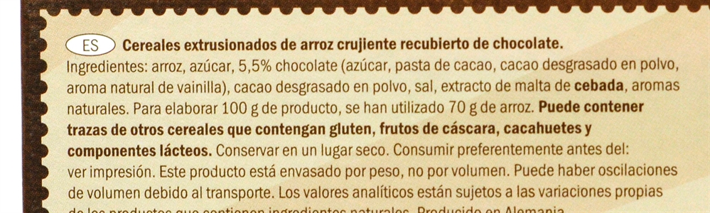 CROWNFIELD (LIDL) CHOCO RICE. | Test y Opiniones CROWNFIELD (LIDL) CHOCO RICE. | OCU